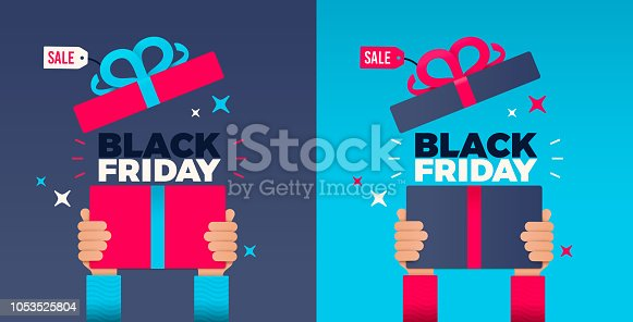 Hands raised holding present or gift for black Friday shopping holiday.