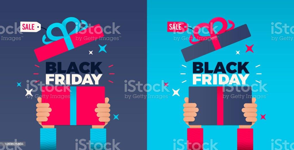 Black Friday Hands Holding up Holiday Gift vector art illustration