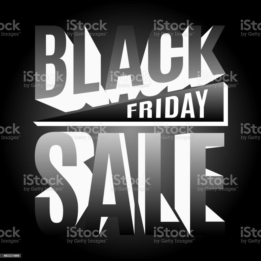 Black Friday holiday 3d lettering banner vector art illustration