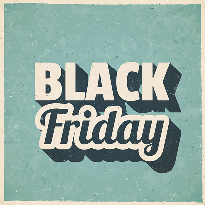 Black Friday. Icon in retro vintage style - Old textured paper
