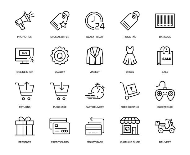 Black Friday Icon Set Black Friday Icon Set - Thin Line Series dealing cards stock illustrations