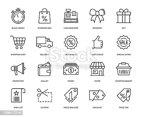 Black Friday Icon Set - Thin Line Series