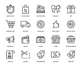 Black Friday Icon Set - Thin Line Series
