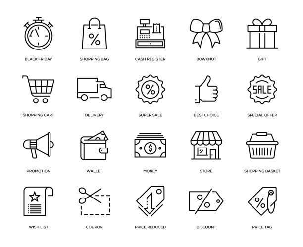 black friday icon set - kasa fiskalna stock illustrations