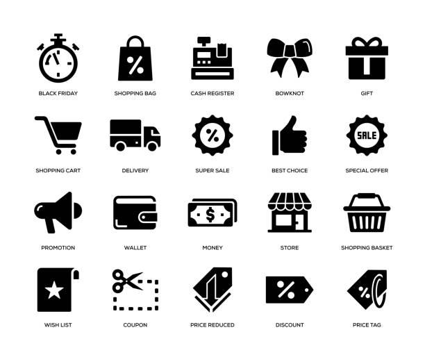 ilustrações de stock, clip art, desenhos animados e ícones de black friday icon set - store