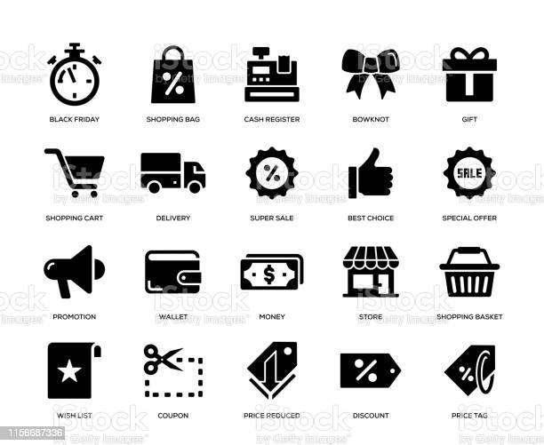 Black Friday Icon Set - Arte vetorial de stock e mais imagens de Black Friday