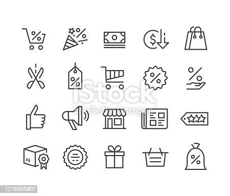 istock Black Friday Icons - Classic Line Series 1218355907