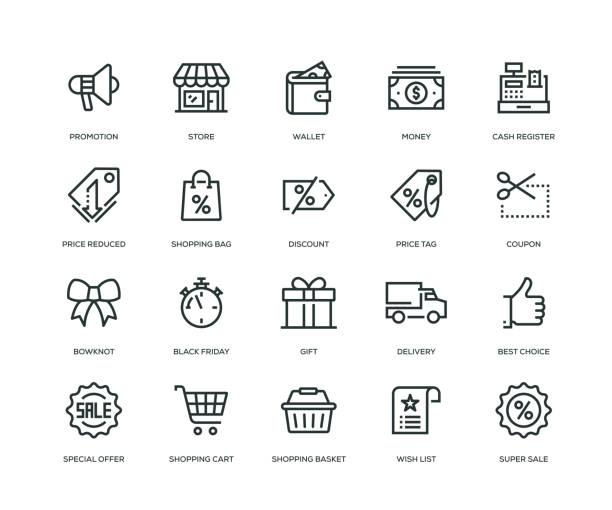 黑色星期五圖示-線系列 - 商務 幅插畫檔、美工圖案、卡通及圖標