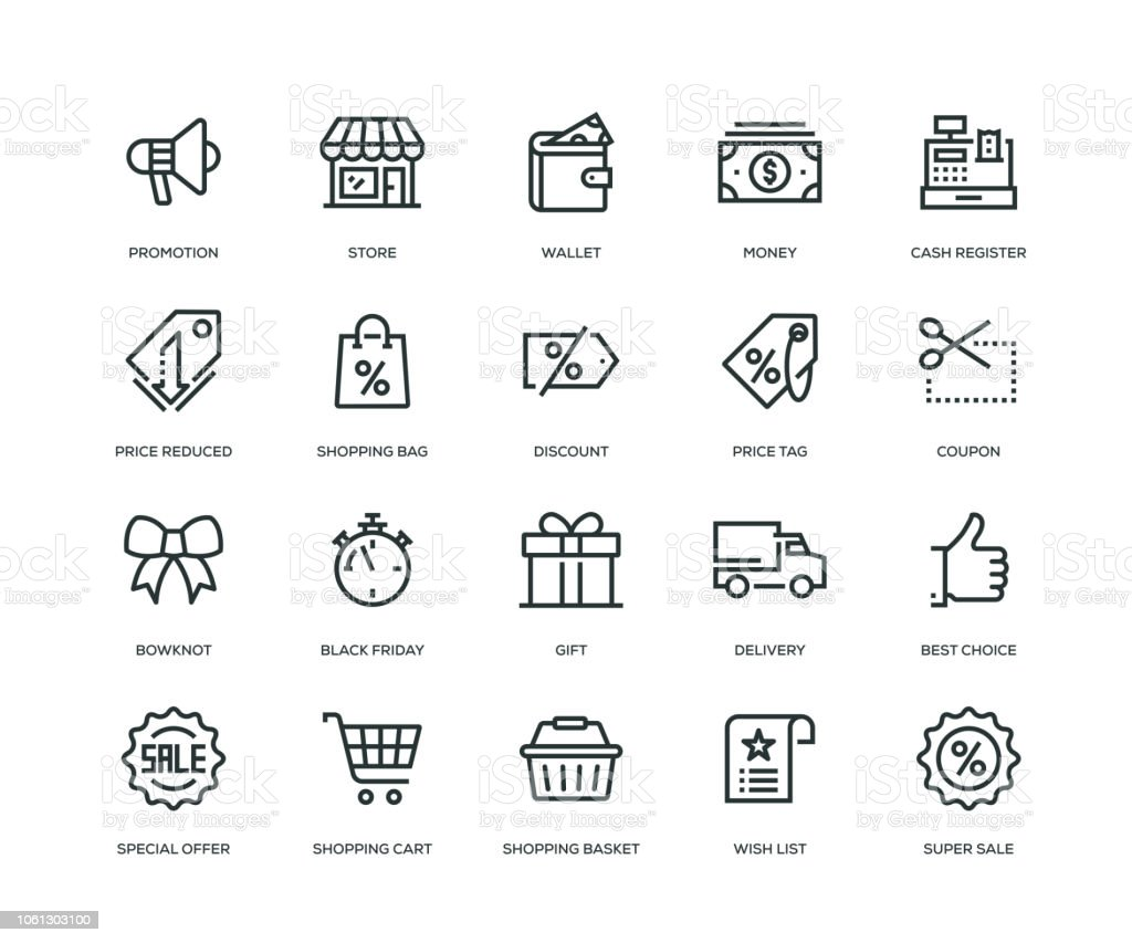 Black Friday Icons - Line Series vector art illustration
