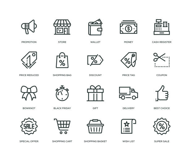 stockillustraties, clipart, cartoons en iconen met black friday icons - line serie - markt