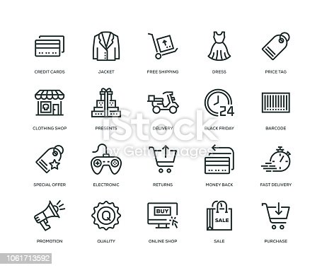 istock Black Friday Icons - Line Series 1061713592
