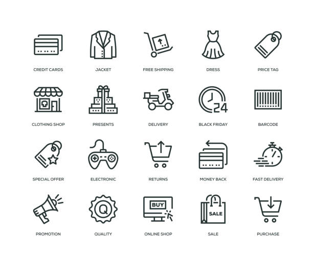 black friday icons - line series - handel detaliczny stock illustrations
