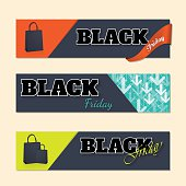 Black friday labels with shopping bags