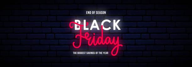 Black Friday long horizontal neon banner. Bright sale sign.  Vector light signboard. vector art illustration