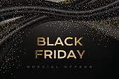 Black friday luxury poster. Promotion banner with silk textile waves, golden confetti on the dark horizontal background.