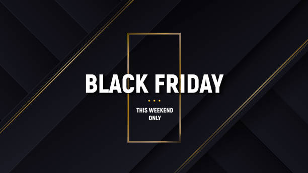 Black friday luxury sale banner. Black background with papercut layers and golden glittering lines. Modern minimalistic of commercial discount event poster. Vector illustration. Black friday luxury sale banner. Black background with papercut layers and golden glittering lines. Modern minimalistic of commercial discount event poster. Vector illustration. black friday sale background stock illustrations