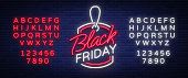 Black Friday neon advertising, discounts, sales, neon bright banner sign. Glowing sign for your projects. Editing text neon sign. Neon alphabet.