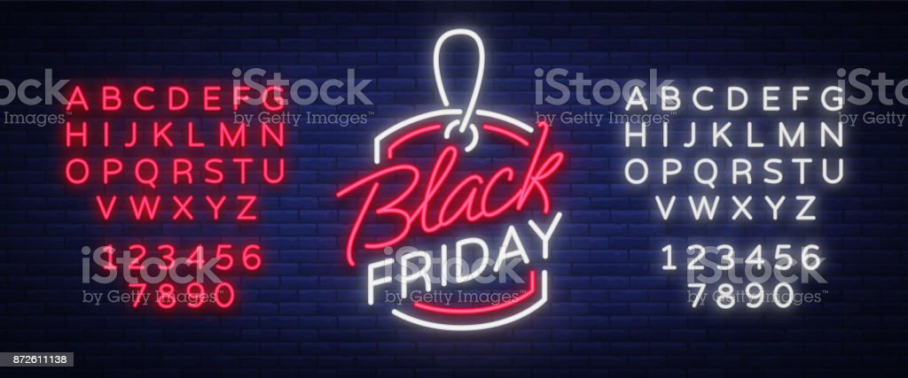 Black Friday neon advertising, discounts, sales, neon bright banner sign. Glowing sign for your projects. Editing text neon sign. Neon alphabet vector art illustration