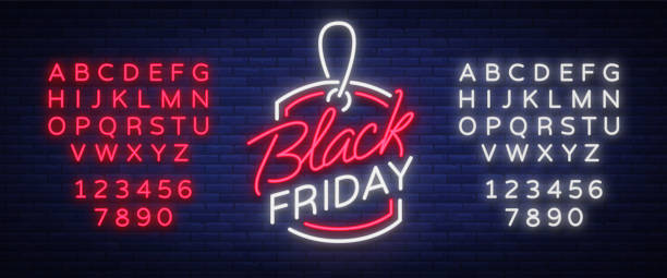Black Friday neon advertising, discounts, sales, neon bright banner sign. Glowing sign for your projects. Editing text neon sign. Neon alphabet Black Friday neon advertising, discounts, sales, neon bright banner sign. Glowing sign for your projects. Editing text neon sign. Neon alphabet. black friday sale neon stock illustrations