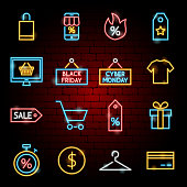 Black Friday Neon Icons. Vector Illustration of Shopping Sale Symbols.