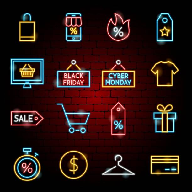 Black Friday Neon Icons Black Friday Neon Icons. Vector Illustration of Shopping Sale Symbols. black friday sale neon stock illustrations