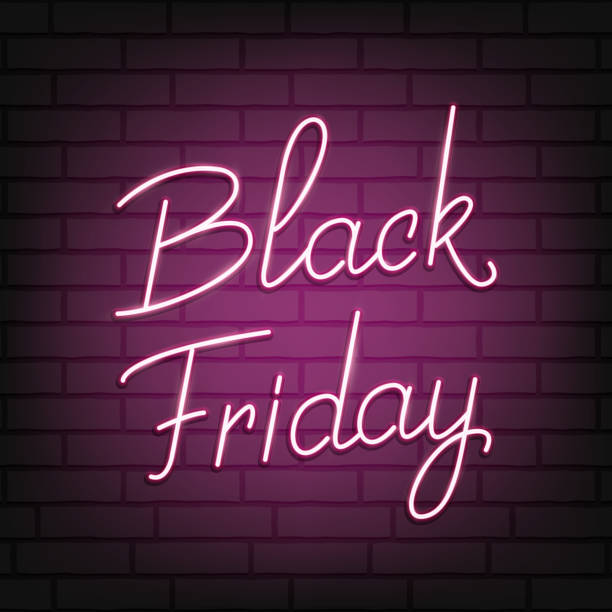 Black Friday. Neon script lettering Black Friday. Neon background for winter seasonal sale events vector art illustration