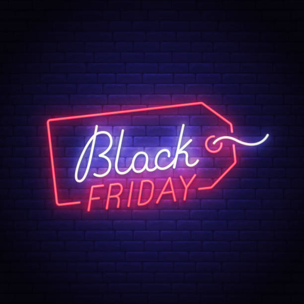 Black Friday neon sign, bright signboard, light banner. Big sale logo, emblem. Vector illustration Black Friday neon sign, bright signboard, light banner. Big sale logo, emblem. Vector illustration. black friday sale stock illustrations
