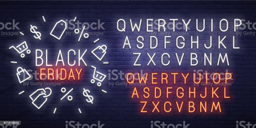 Black Friday neon sign, bright signboard, light banner. Black Friday, emblem and label. Neon sign creator. Neon text edit vector art illustration
