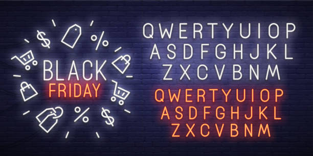 black friday neon sign, bright signboard, light banner. black friday, emblem and label. neon sign creator. neon text edit - black friday stock illustrations