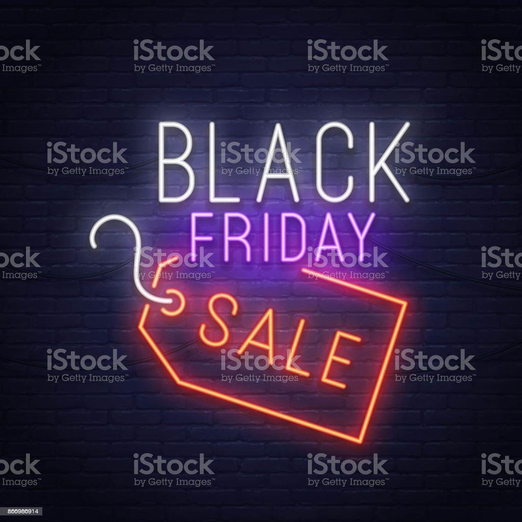 Black Friday neon sign. Sale banner, logo, emblem and label. Neon sign, bright signboard, light banner. vector art illustration