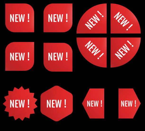 Black Friday New Sale Sticker Set. Red promotion labels vector art illustration