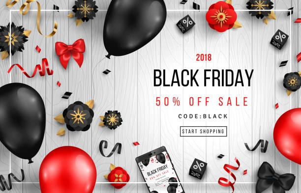 ilustrações de stock, clip art, desenhos animados e ícones de black friday on wooden background - balão enfeite