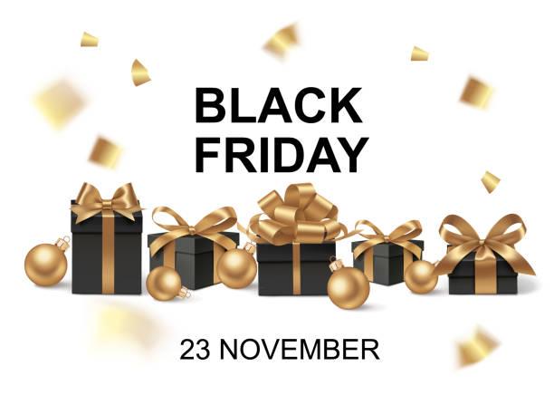 블랙 프라이데이 또는 크리스마스 판매 디자인 템플릿입니다. 흰색에 고립 된 검은 선물 상자와 장식 금 활 휴일 배경. - black friday stock illustrations