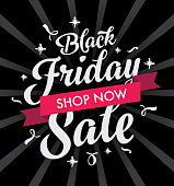 Black Friday Sale graphic with black background and decorative writting