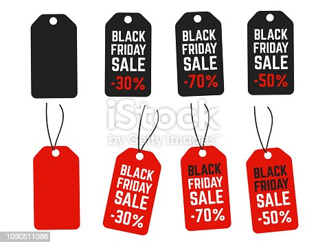 Black friday pricing tags. Promotion labels best offers. Retail vector sign