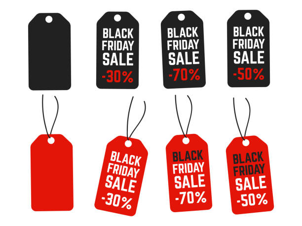 black friday pricing tags. promotion labels best offers. retail vector sign - przywieszka z ceną stock illustrations