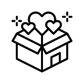 black friday, related gift boxes and heart vectors, in lineal styles,