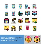 black friday related mobile, computer, bill, gift boxes, shopping mall, t shirt, shopping bag, trolley, character, and qr code vector with editable stroke