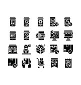 black friday related mobile, computer, bill, gift boxes, shopping mall, t shirt, shopping bag, trolley, character, and qr code vector in solid design