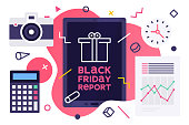 Modern flat design style layout template of black friday report. Vector illustration concept for printed materials or website and mobile development projects.