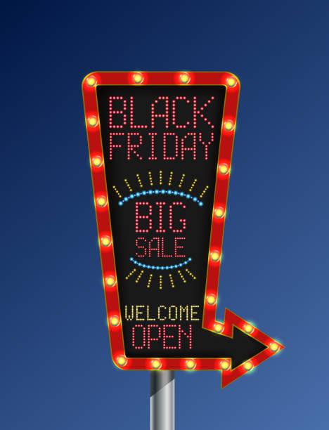 illustrations, cliparts, dessins animés et icônes de noir vendredi flèche bannière rétro sur fond bleu clair - enluminure bordure