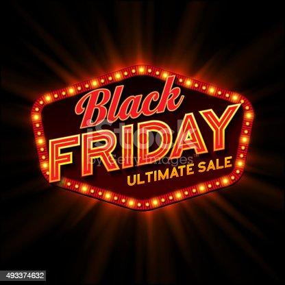 Black Friday retro light frame. Vector illustration EPS 10