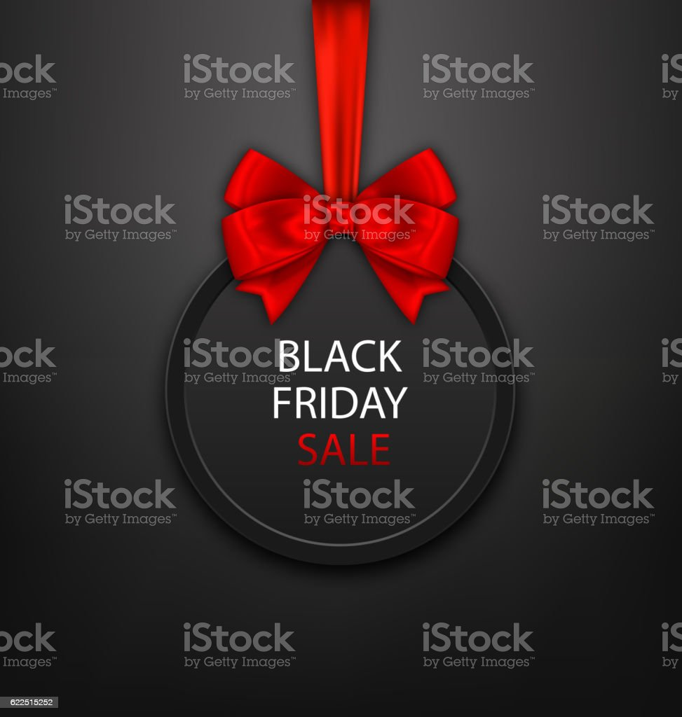 Black Friday Round Frame with Red Ribbon and Bow vector art illustration