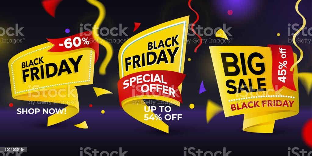 Black Friday sale 2018. Set of beautiful discount and promotion tags. Realistic curved paper labels. Advertising elements. Set of yellow colored stickers and banners. Sale banner tags. Advertisement stock vector