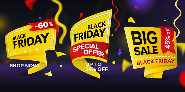 Black Friday Sale 2018 Set Of Beautiful Discount And Promotion Tags Stock Illustration - Download Image Now