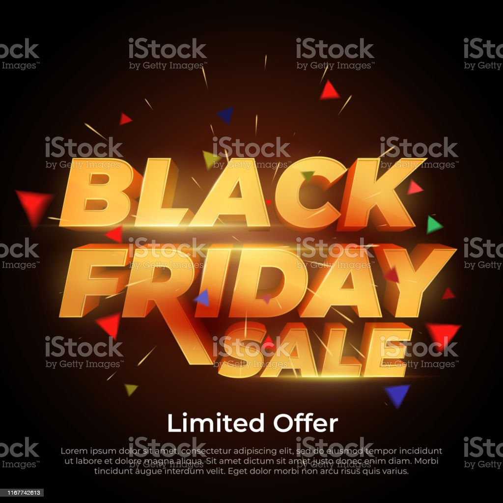 Black Friday Sale. 3d letters numbers gold. Sale and discounts banners. Creative glowing social media banner design. Design element for sale banners, posters, cards. Vector Illustration Abstract stock vector