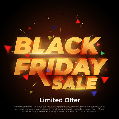 Black Friday Sale 3d Letters Numbers Gold Sale And Discounts Banners Stock Illustration - Download Image Now