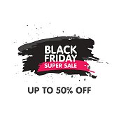 Black Friday Sale Abstract background. Grunge watercolor brush label price