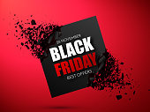 Black Friday Sale Abstract Background. Vector Banner with explosion 3d effect.