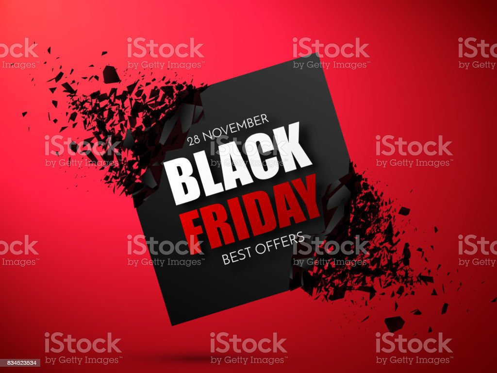 Black Friday Sale Abstract Background. Vector Banner with explosion effect. vector art illustration